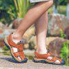 Men Trendy Hollow-out Breathable Leather Sandals - CHESTNUT RED