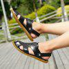 Men Leisure Dual-use Anti-slip Leather Sandals - BLACK