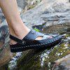 Men Handcrafted Dual-use Leather Sandals - BLACK