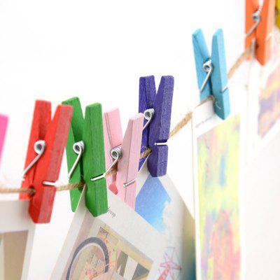 Colorful Wooden Photo Clip with String 20PCS