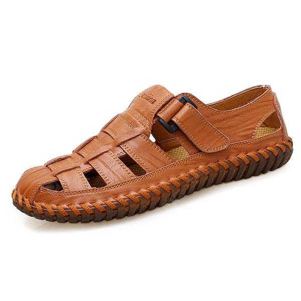 Men Leisure Hollow-out Handcrafted Leather Sandals