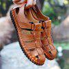 Men Leisure Hollow-out Handcrafted Leather Sandals - BROWN