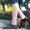 Men Leisure Hollow-out Handcrafted Leather Sandals - BLACK