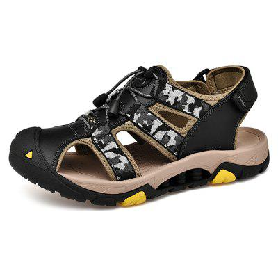Men Fashion Hollow-out Camouflage Leather Sandals
