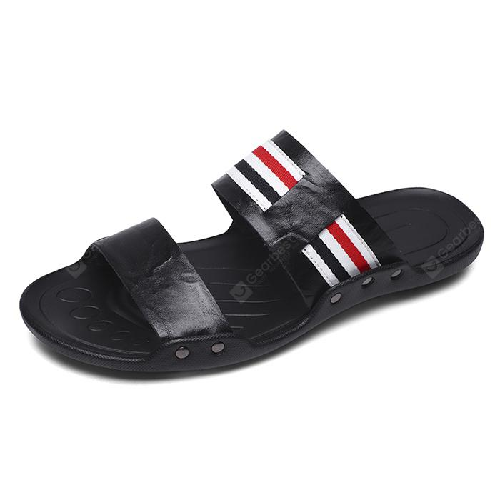 Men Fashion Street Anti-slip Stripe Leather Slippers