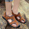 Men Fashion Anti-slip Hollow-out Leather Sandals - BROWN