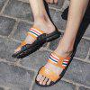 Men Fashion Street Anti-slip Stripe Leather Slippers - CARAMEL