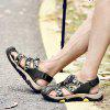 Men Fashion Hollow-out Camouflage Leather Sandals - BLACK