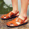 Fashion Summer Dual-use Hollow-out Leather Sandals - BROWN