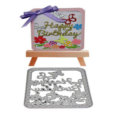 Happy Birthday Metal Cutting Die for Card Gift non standard die cut plastic combo cards die cut greeting card one big card with 3 mini key tag card