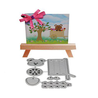 Bear Shape Metal Cutting Die Set for Card Gift non standard die cut plastic combo cards die cut greeting card one big card with 3 mini key tag card