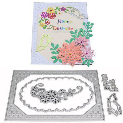 Garland Background Frame Metal Cutting Die Set for Card Gift non standard die cut plastic combo cards die cut greeting card one big card with 3 mini key tag card