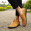 Male Chic Lace-up Hollow-out Leather Sandals - GOLDEN BROWN