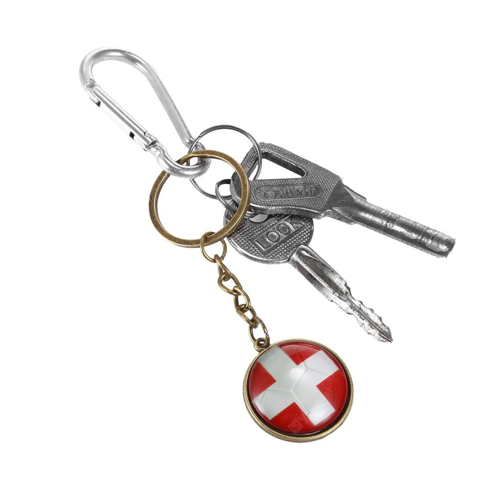 Gearbest Football National Flag Model Keychain for 2018 FIFA World Cup - BRONZE SWISS FLAG
