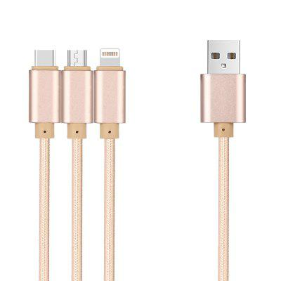 3-in-1 Type-C Micro Nylon USB-kabel 120 cm