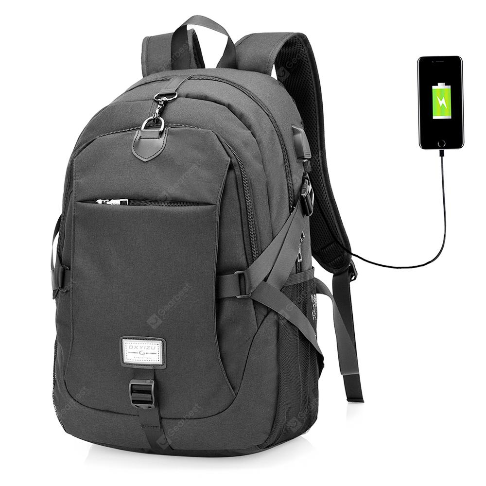 Men Casual Canvas Backpack with USB Port