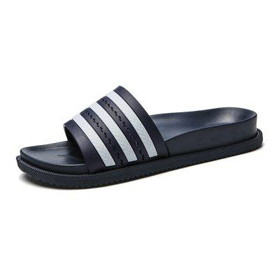 Simple Male Striped Casual Slippers male trendy simple pure color turtleneck sweater