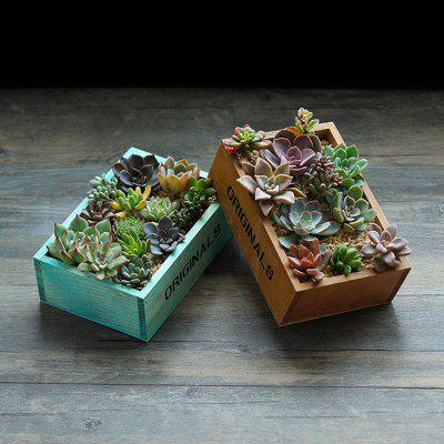 Retro Style Wooden Succulent Plants Square Flower Pot 1pc