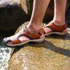 Men Leisure Hollow-out Leather Adjustable Sandals - CHESTNUT RED