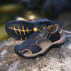 Men Leisure Hollow-out Leather Adjustable Sandals - COFFEE
