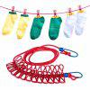 Travel Portable Laundry Clothes Clip Hang Rope - ROJO