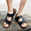 Chic Male Anti-slip Leather Sandals - BLACK