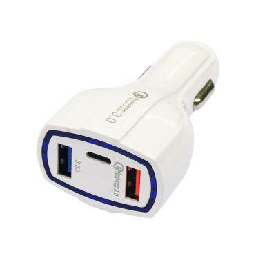 Quick Charging 3.0 Dual USB Ports and Type-C Car Charger