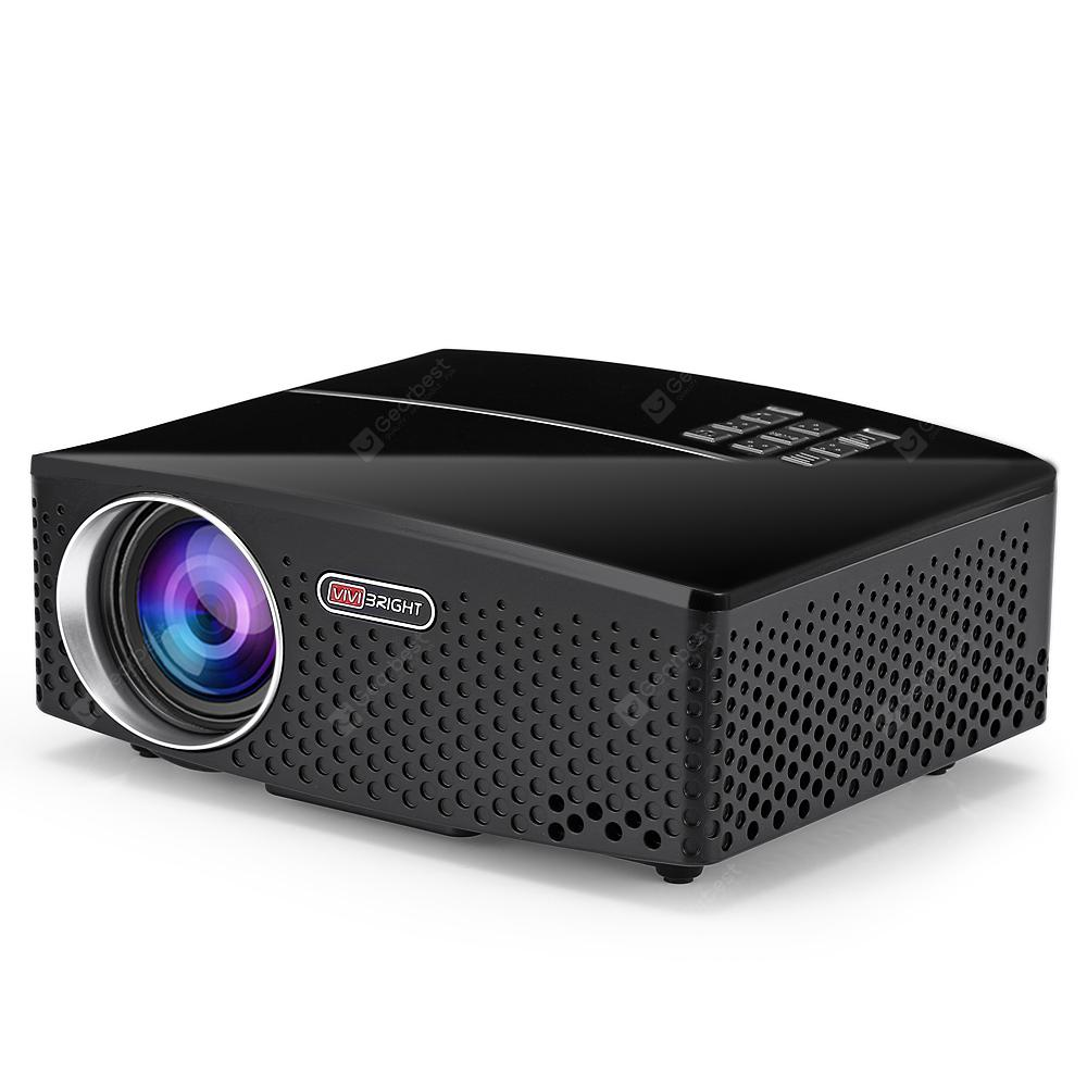 VIVIBRIGHT GP80 LED 1800 Lumens HD Portable Projector - NATURAL BLACK EU PLUG