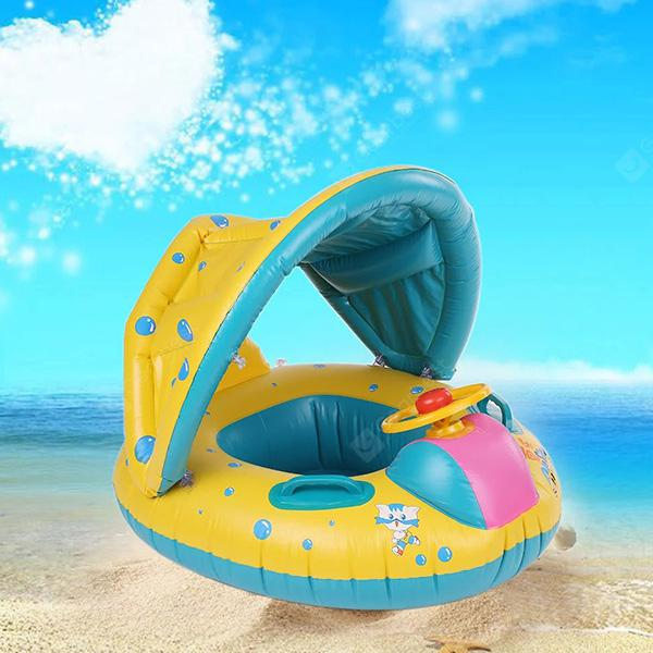 Inflatable Children Swimming Ring Seat Pool Floating Boat - YELLOW