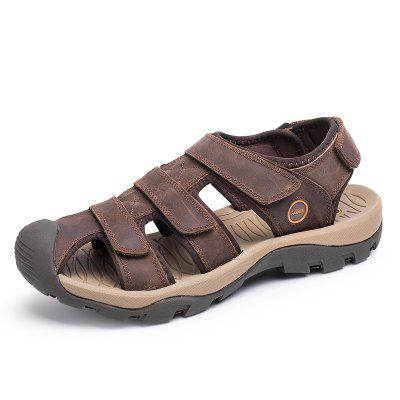 Male Soft Leather Hollow-out Sandals