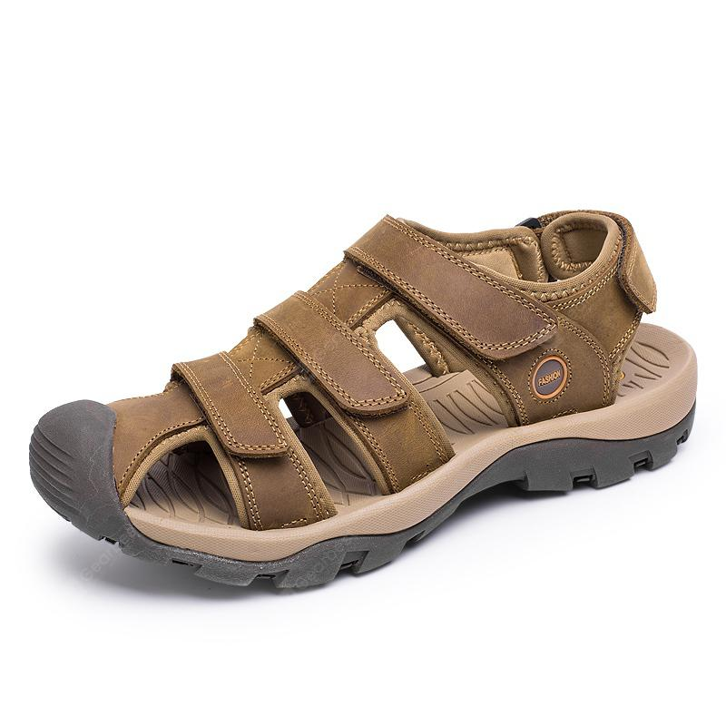 Male Soft Leather Hollow-out Sandals discount t6AGP9