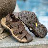 Male Soft Leather Hollow-out Sandals - SEPIA