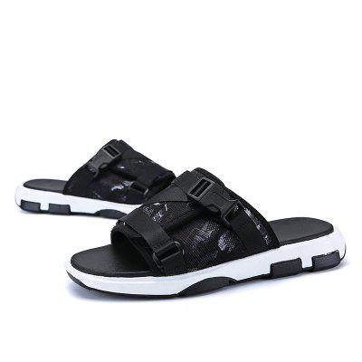 Male Fashion Soft Denim Slippers with Buckle
