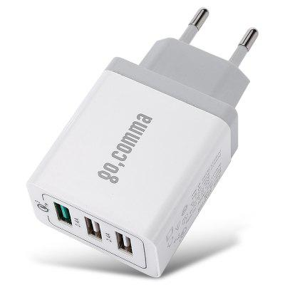 Gocomma 3 USB Ports QC 3.0 Power EU Plug Quick Adapter Charge