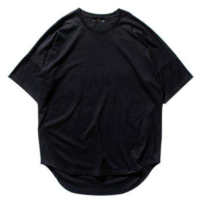 Men Short Batwing Sleeve Casual Cotton T-Shirt