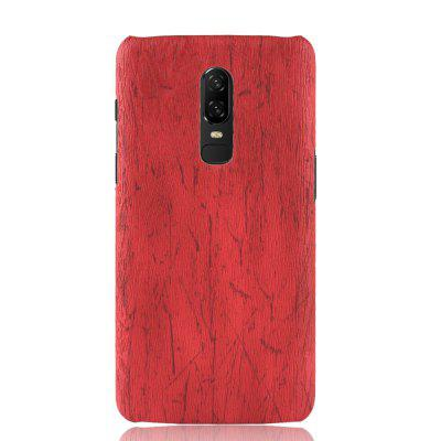 Luanke PC Wood Texture PU Leather Paste Case for OnePlus 6