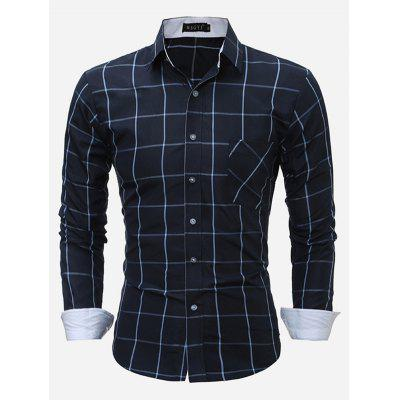 Fashion Plaid Button Down Long Sleeve Shirt for Men