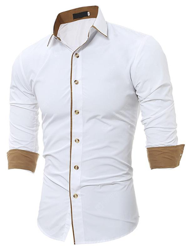 Gearbest Stylish Men Casual Slim Long-sleeved Shirt - White XL