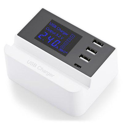 3 USB + Type-C Slot Design Charger with Display Screen