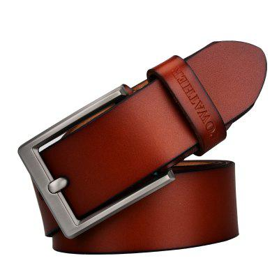 COWATHER Retro Business Pin Buckle Leather Trouser Belt