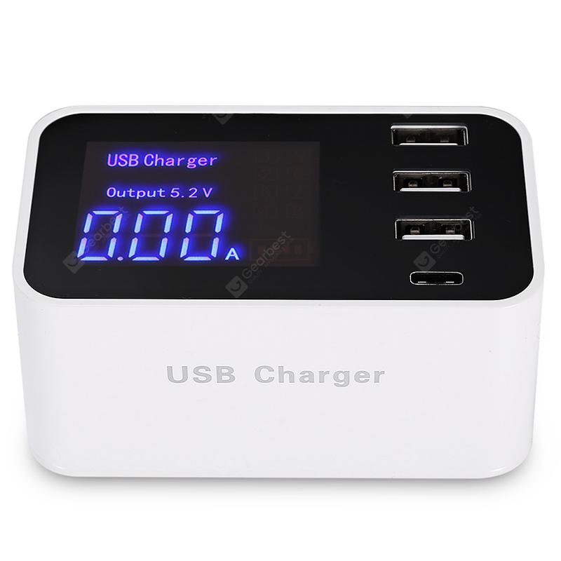3 USB Ports + Type-C Smart  Display Screen Charger