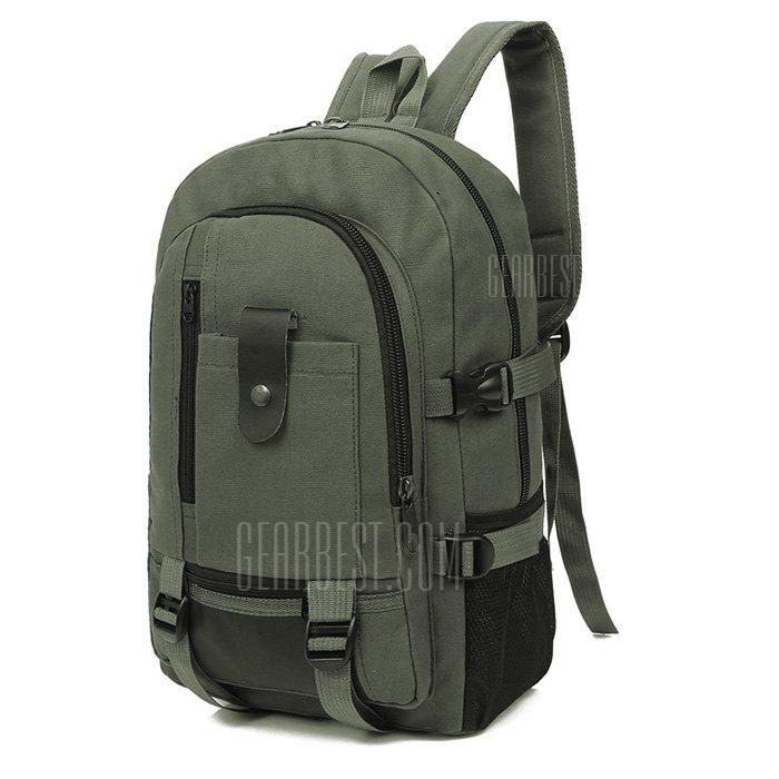 Men Trendy Outdoor Large Capacity Canvas Backpack - ARMY GREEN from Gearbest Image