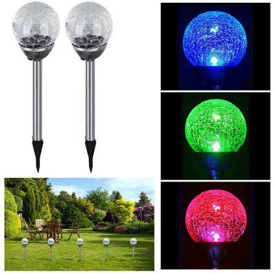 Solar Powered Path Lights Crackle Glass Ball Lamp 2PCS pastoral tiffany glass pendant lights latin american colorful tiffany lighting lamp mediterranean hanging glass lamp cover lampe
