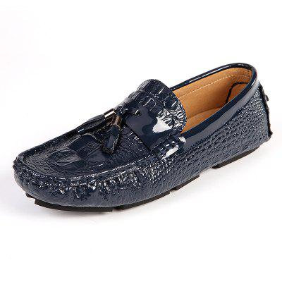 Trendy Slip-on Leather Shoes with Solid Color for Men