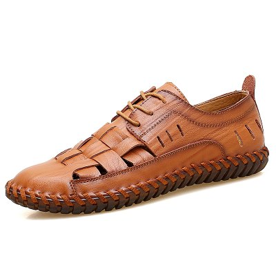 Men Fashionable Hollowed-out Lace-up Leather Shoes kuyupp size34 44 womens leather cowhide hollow out casual flat driving shoes boat loafers lace up monther shoes ydt04