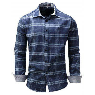 FREDD MARSHALL Men's Long Sleeve Stripe Denim Shirt