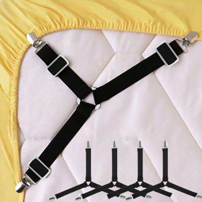 Gocomma Adjustable Triangle Bed Sheet Fasteners 4pcs - BLACK
