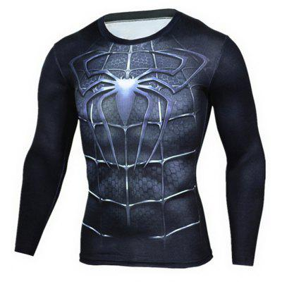 Tight 3D Pattern Printed Long Sleeves T-shirt for Men женский плащ jane sun about to rise s900