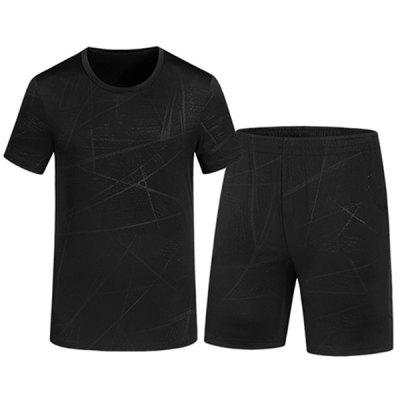 Men Leisure Summer Solid Color T-shirt + Shorts