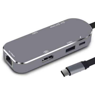 YC206 Type-C Ports 4K Display 3.0 USB Hub Adapter usb 3 1 type c to 4k hdmi hub type c adapter thunderbolt 3 convertor usb c dock dongle combo with sd tf charging for macbook pro